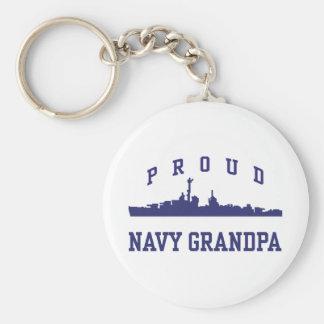 Navy Grandpa Basic Round Button Keychain
