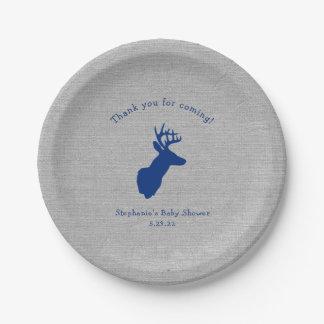 Navy Gray Buck baby shower decor, oh deer Paper Plate