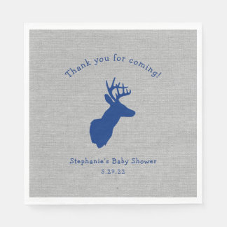 Navy Gray Oh Deer Buck Baby Shower Decor Disposable Napkins