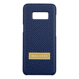 Navy Greek Key Pattern Gold Name Template Case-Mate Samsung Galaxy S8 Case