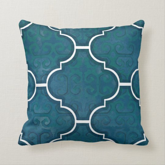 Navy Green Arabesque Scroll Pattern Moroccan Tile Throw Pillow