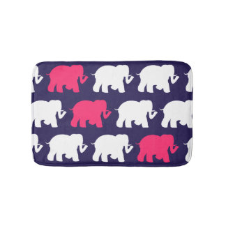 Navy green elephants custom bathmat