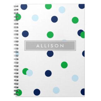 Navy Green & Lt. Blue Polka Dot Monogram Notebook
