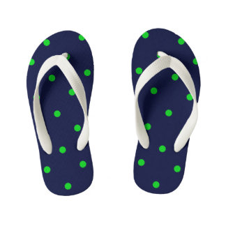 Navy-Green-Polka-Dots--Kids-Multi-Styles_Colors Kid's Flip Flops