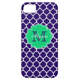 Navy Green Quatrefoil Personalized iPhone 5 Covers