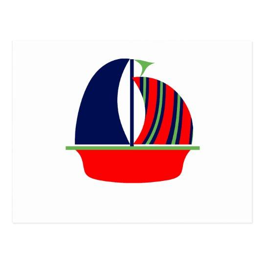Navy Green Red Sail Boat Postcard