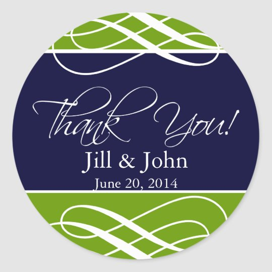 Navy Green Thank You Favour Labels Wedding