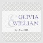 Navy grey Moroccan tile ampersand modern wedding Square Stickers
