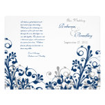 navy grey white abstract floral wedding program
