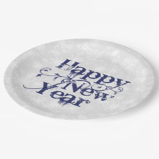 Navy Grunge Happy New Year 9 Inch Paper Plate