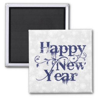 Navy Grunge Happy New Year Square Magnet