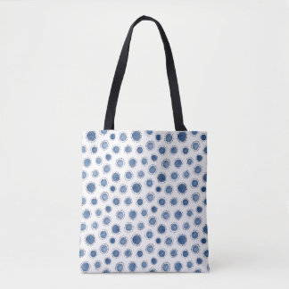 Navy hand-drawn watercolor pattern all-over tote
