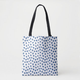 Navy hand-drawn watercolor pattern tote