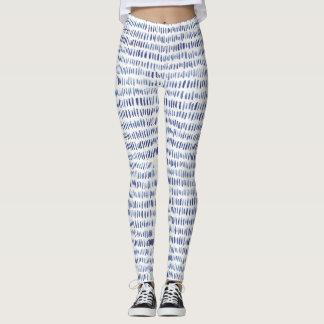 Navy hand-drawnd watercolour pattern leggings