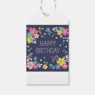 Navy Happy Birthday Gift Tag