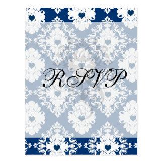 navy hearts blue white damask postcard