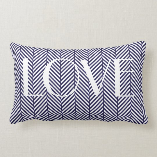 Navy Herringbone Lumbar Pillow