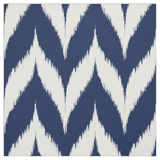 Navy Ikat Chevron Pattern Fabric