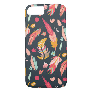 Navy Illustrated Feathers Pattern iPhone 7 Case