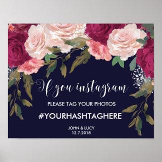 navy instagram sign wedding hashtag