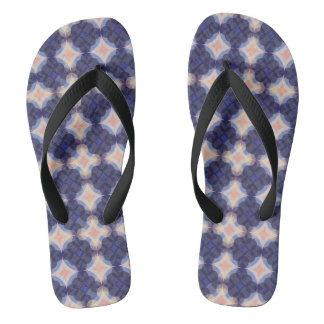 Navy Kaleidoscope Pattern Flip Flops