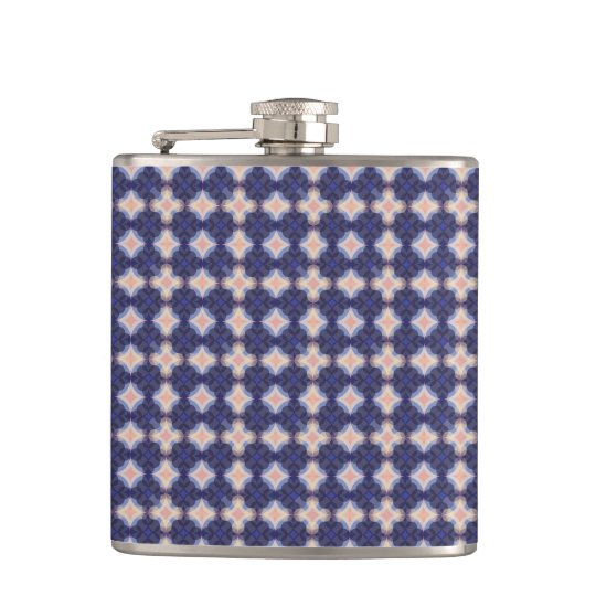 Navy Kaleidoscope Pattern Hip Flask