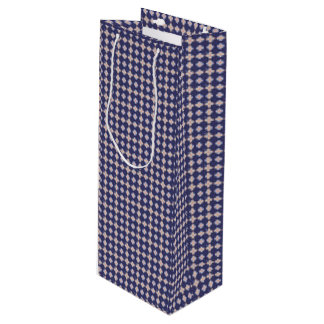 Navy Kaleidoscope Pattern Wine Gift Bag