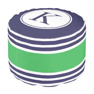 Navy Kelly Green Personalized Monogram Pattern Pouf