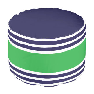 Navy Kelly Green Stripes Geometric Pattern Pouf