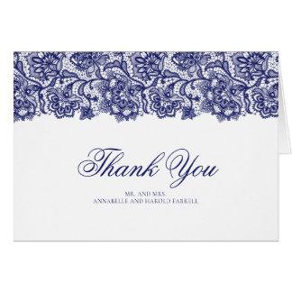 Navy Lace Elegant Wedding Thank You Card