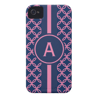Navy Lace Monogrammed iPhone Case Mate