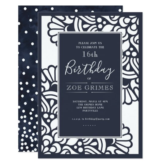 Navy Laser Cut Floral Birthday Party invitation
