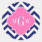 Navy Lg Chevron Hot Pink #2 Quatrefoil 3 Monogram Classic Round Sticker
