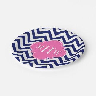 Navy Lg Chevron Hot Pink #2 Quatrefoil 3 Monogram Paper Plate