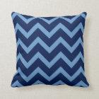 Navy & Light Blue Chevron Zigzag Pattern Throw Pillow