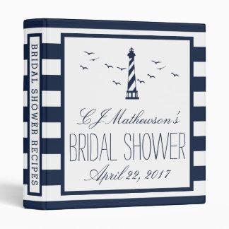 Navy Lighthouse Nautical Bridal Shower Recipe Vinyl Binder