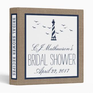 Navy Lighthouse Nautical Bridal Shower Recipe Vinyl Binders
