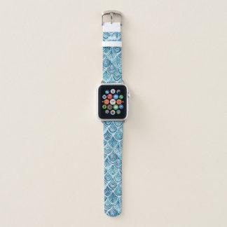 Navy LIKE A MERMAID Nautical Fish Scales Pattern Apple Watch Band