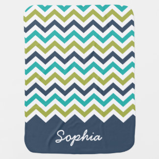 Navy Lime Turquoise Chevron Custom Name Baby Blanket
