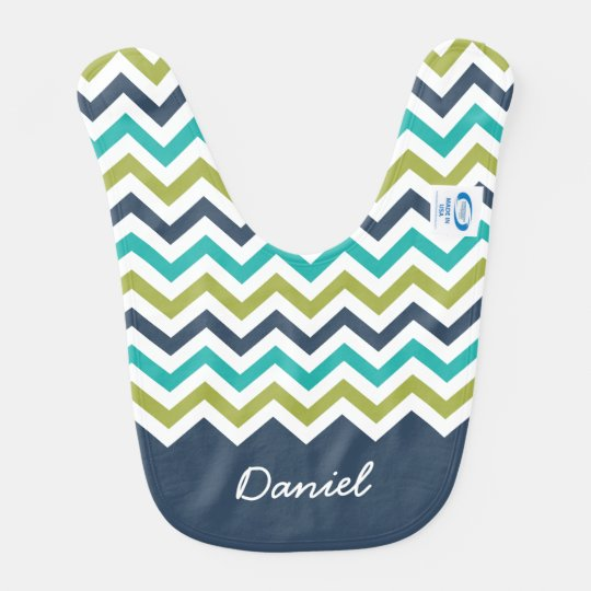Navy Lime Turquoise Chevron Custom Name Bib