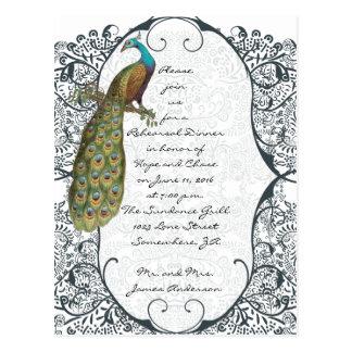 Navy Love Bird Damask Rehearsal Dinner Invitations Postcards