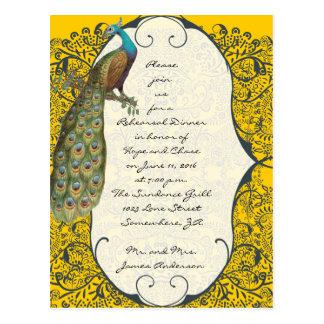 Navy Love Bird Damask Rehearsal Dinner Invitations Postcard