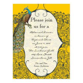 Navy Love Bird Damask Rehearsal Dinner Invitations Post Card
