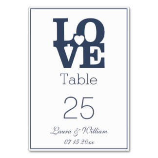 Navy LOVE Wedding Table Number Cards