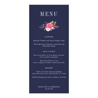 Navy Luscious Botanicals Floral Wedding Menu