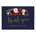 Navy Marsala FloralAutumn Wedding Thank You Card