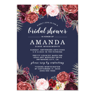 Navy Marsala Peony Fall Bridal Shower Invitations