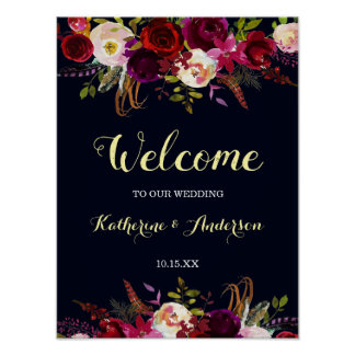 Navy Marsala Rustic Boho Floral Welcome Wedding Poster