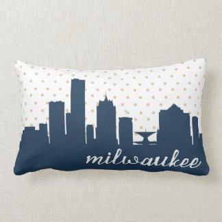 navy Milwaukee, WI polka dot Throw Pillow