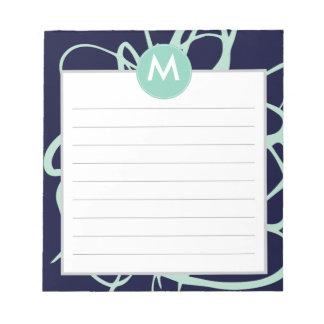 Navy & Mint Brushstrokes Monogram Initial Notepad